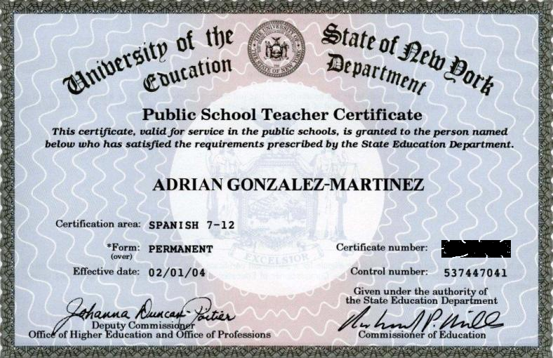 New York State Permanent Teaching Certification in Spanish